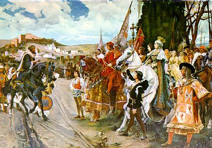 Rendición de Granada con Fernando e Isabel presentes