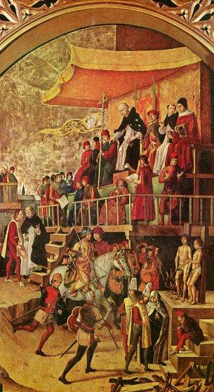 Auto de fe: dos herejes y Domingo de Guzmán