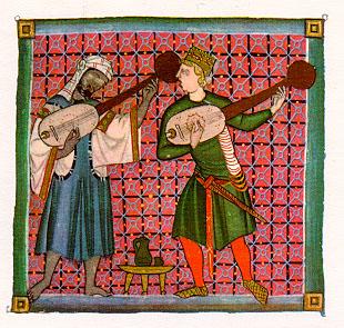 Juglar castellano cantando con un juglar moro